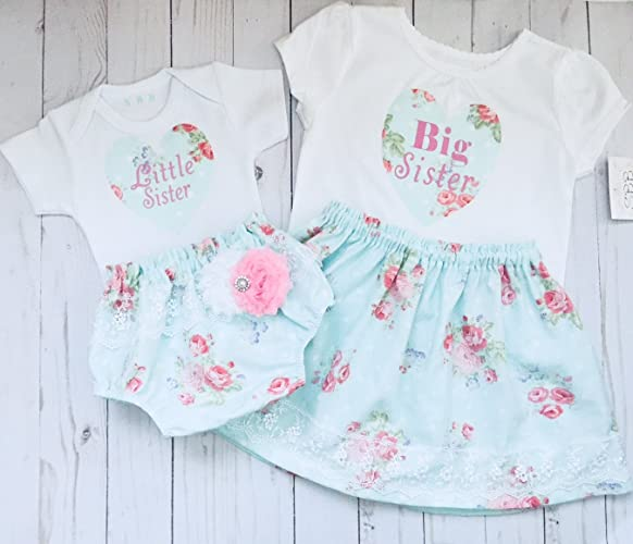 efb03aa5b61a0 Amazon.com: Big sister and Little sister matching outfits in aqua and pink:  Handmade