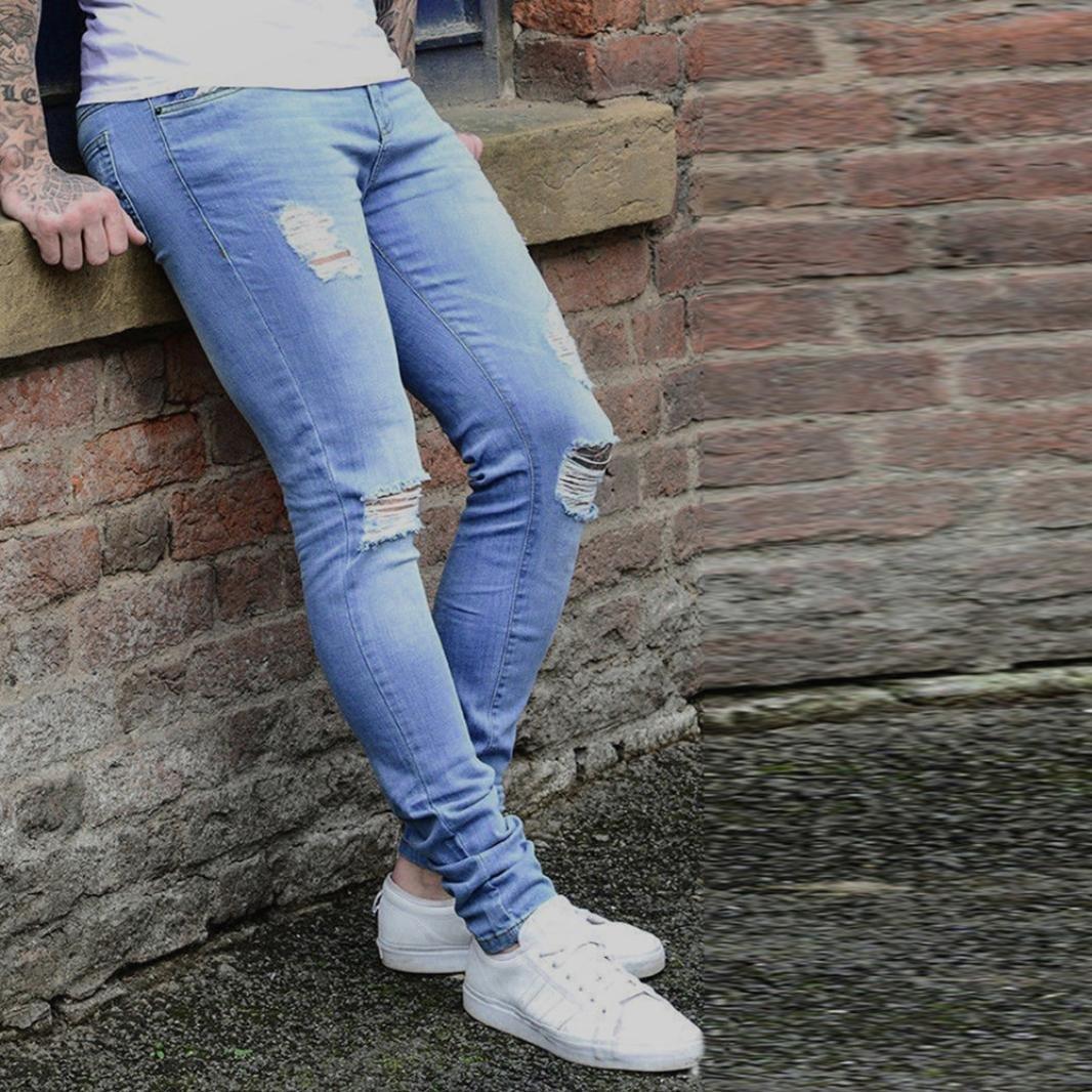 Fabal Mens Super Skinny Stretch Denim Enzo Designer Distress Rip Freyed Stylish Jeans