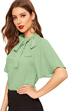 2d0ad081ec SheIn Women s Casual Side Bow Tie Neck Short Sleeve Blouse Shirt Top