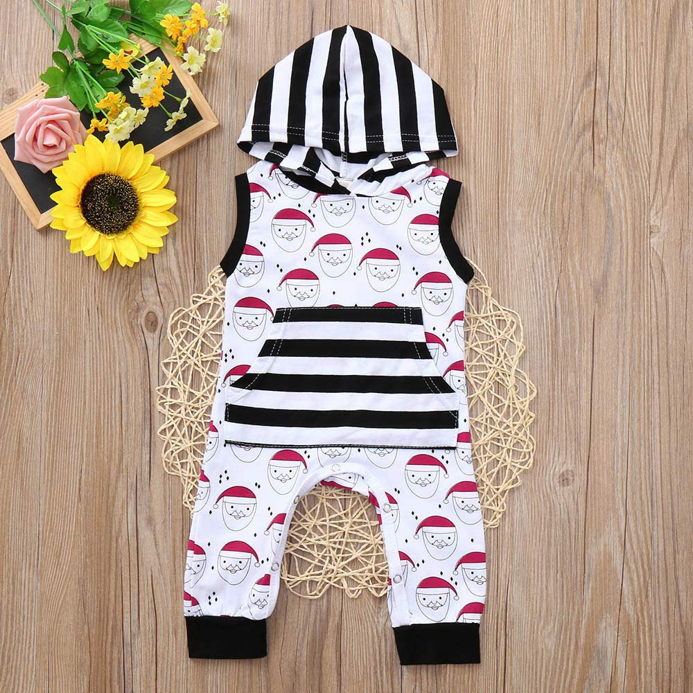 Christmas Romper Hoodie Snowman Print Jumpsuit Striped Playsuit Outfits One Piece Memela Baby Christmas Outfit