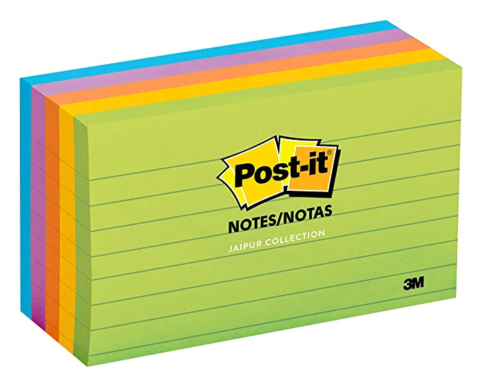 Post-it Notes, America's #1 Favorite Sticky Note, 3 in x 5 in, Jaipur Collection, Lined, 5 Pads/Pack (635-5AU)