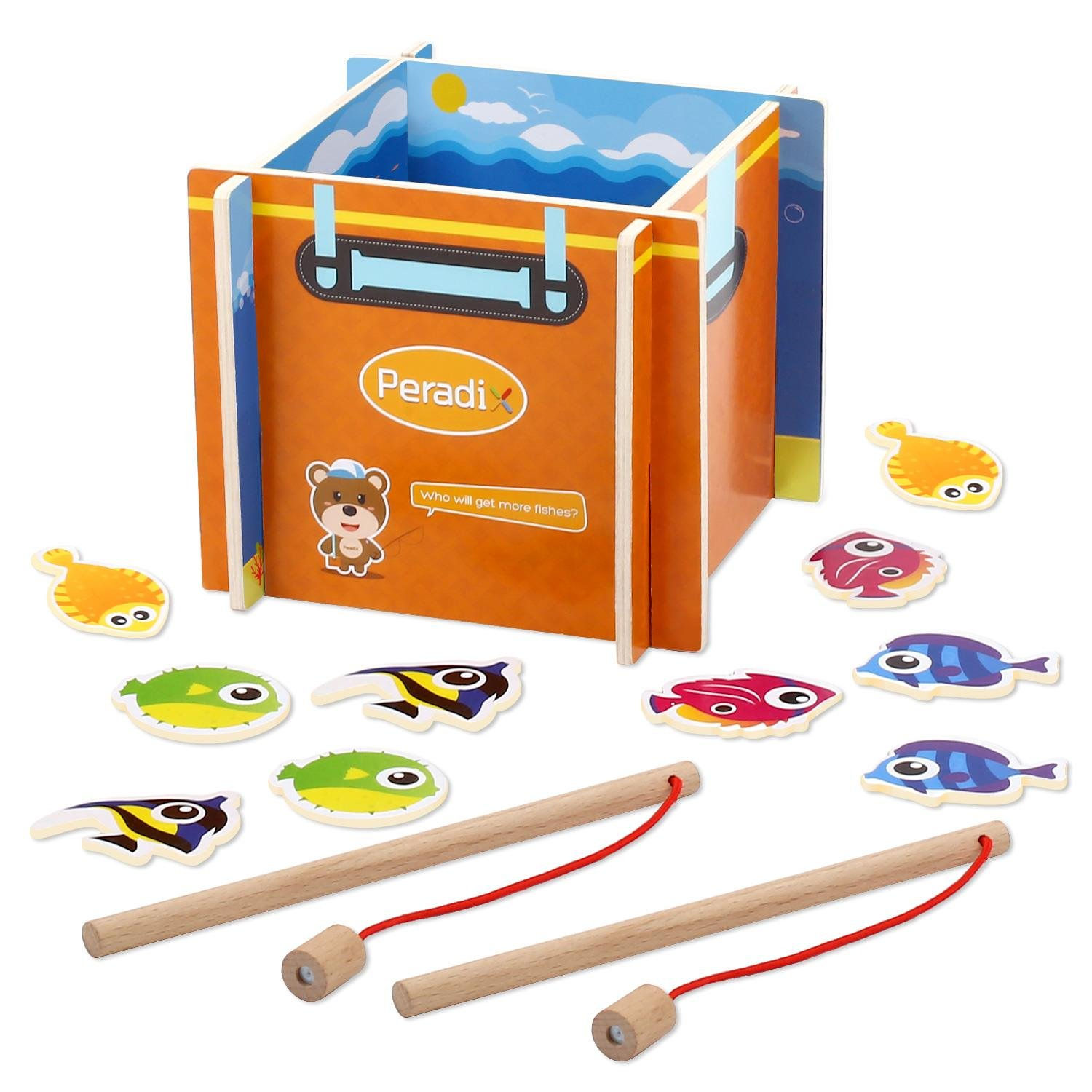 Peradix Wooden Fishing Game Toys Set for Toddlers Wooden Magnetic Puzzle Board with Kids Play Magnetic Fishing Rods Pole Activity Game Kits Mesh Storage Bag Gift Bag