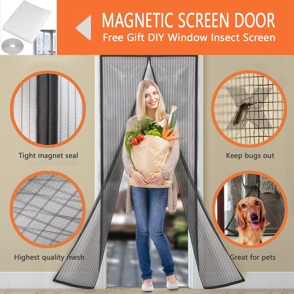 LJNH Magnetic Screen Door with Heavy Duty Mesh Curtain and Full Frame Velcro, Easy Installation, No Gap, Fits Door Size up to 90 x 210cm with DIY Window Insect Screen