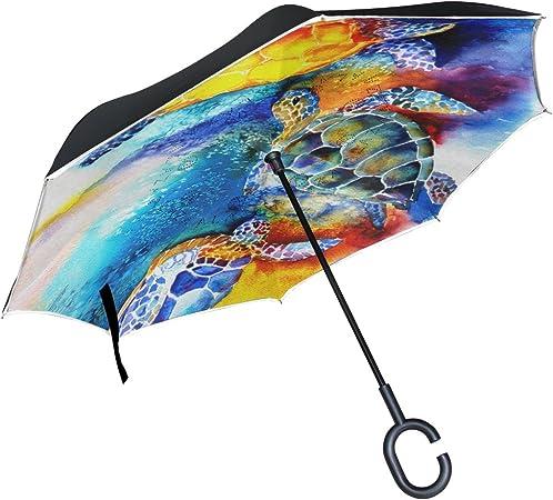Car Reverse Folding Umbrella Inverted Umbrella with Watercolor Sea Turtle Print