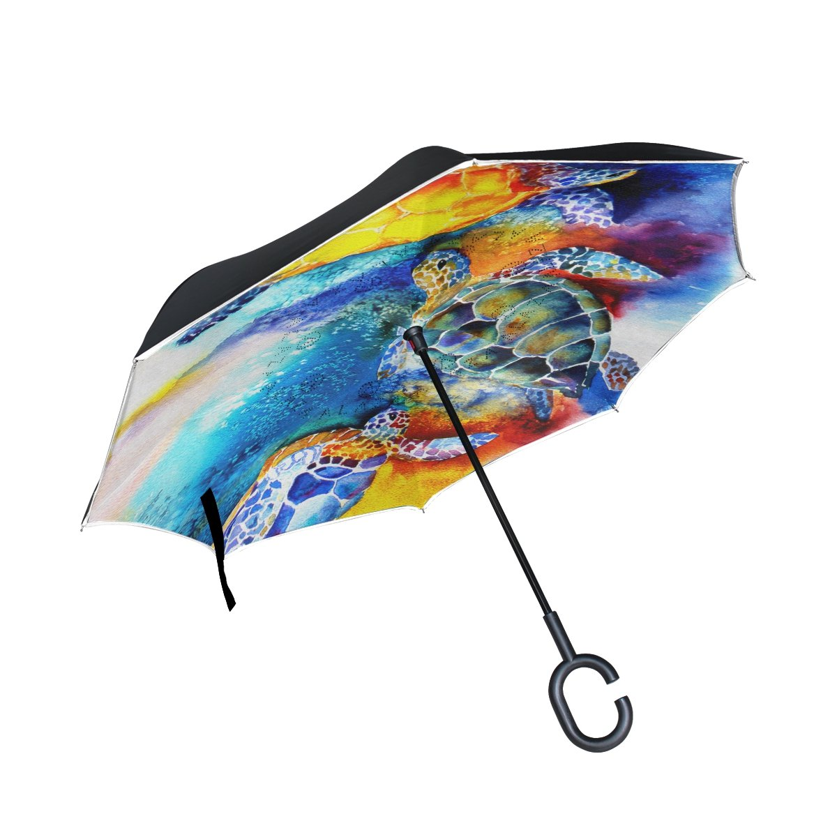ALAZA Sea Turtle Ocean Inverted Umbrella Double Layer Windproof Reverse Folding Umbrella for Car With C-Shape Handle   B076CF8B8W