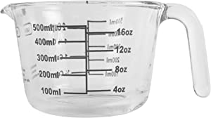 Farberware 2-Cup Borosilicate Glass Wet and Dry Measuring Cup with Oversized Measurements, Clear