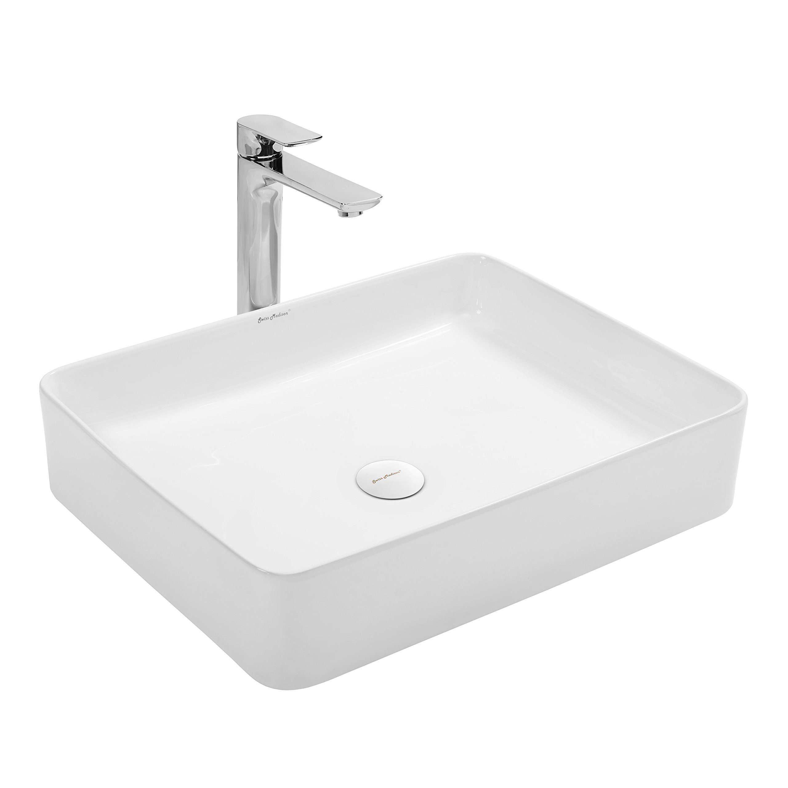 Swiss Madison SM-VS242 Plasir Slender Ceramic Porcelain Rectangular Vessel Vanity Art Basin Bathroom Sink by Swiss Madison