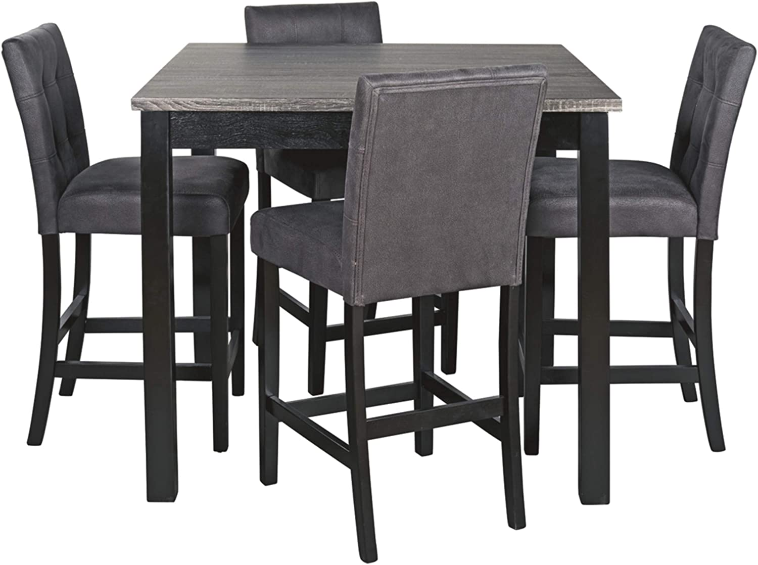 Signature Design by Ashley Garvine Counter Height Dining Room Table and Bar  Stools Set of 9, Two tone