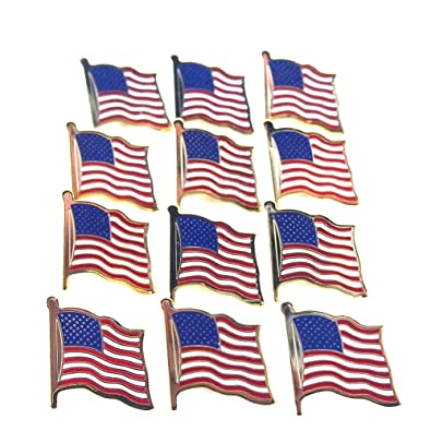 Superb 12 Gold Plated American Flag Pins United States USA Hat Tie Lapel Tacks