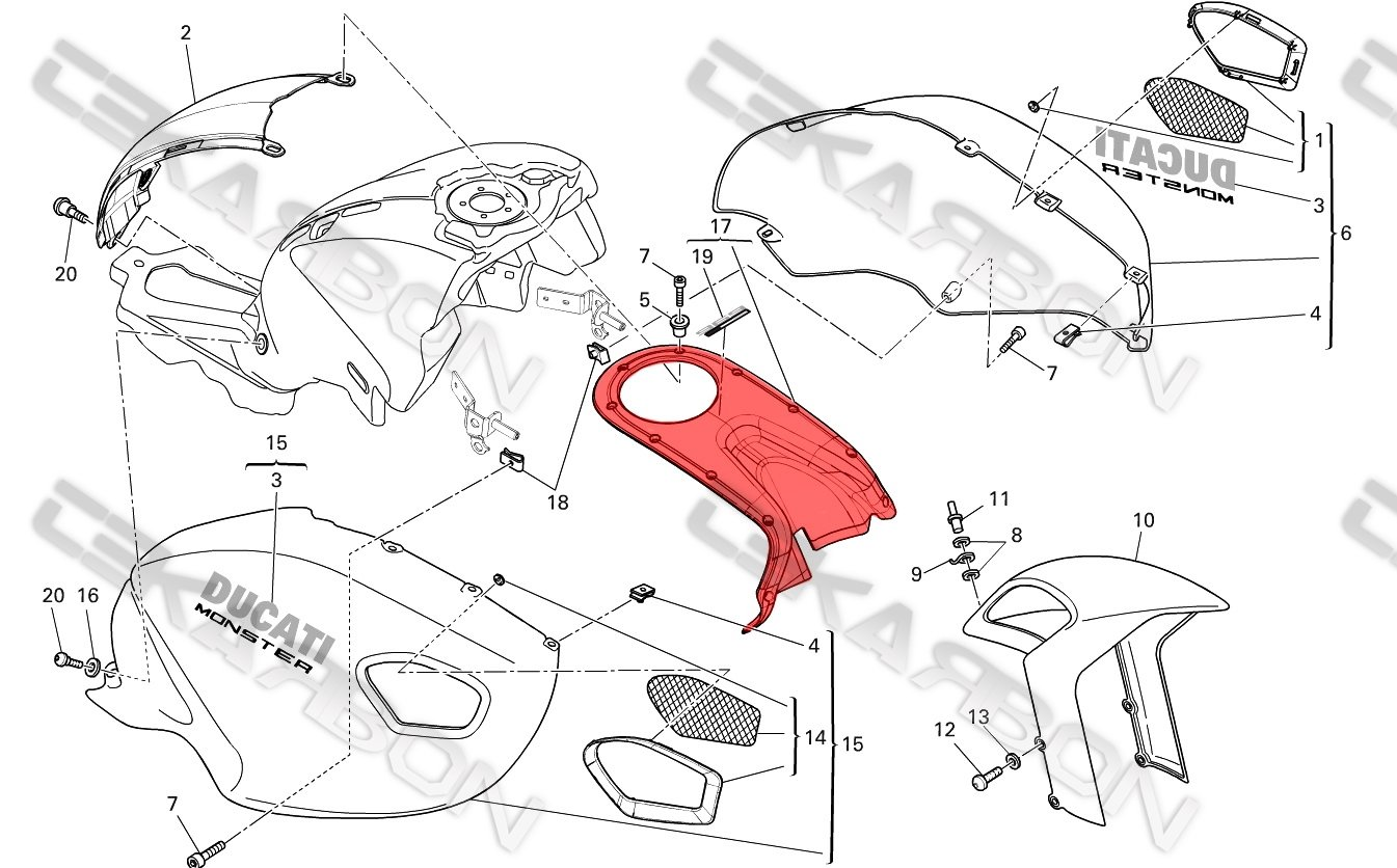Amazon.com: 2008 - 2013 Ducati Monster 696 796 1100 Carbon Fiber Top Tank  Cover - Red: Automotive