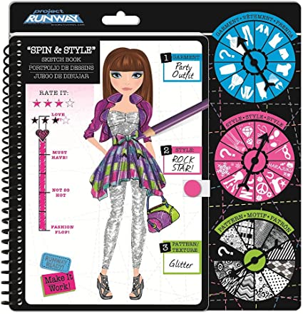 Amazon Com Fashion Angels Project Runway Fashion Spin Style Challenge Sketch Book Toys Games