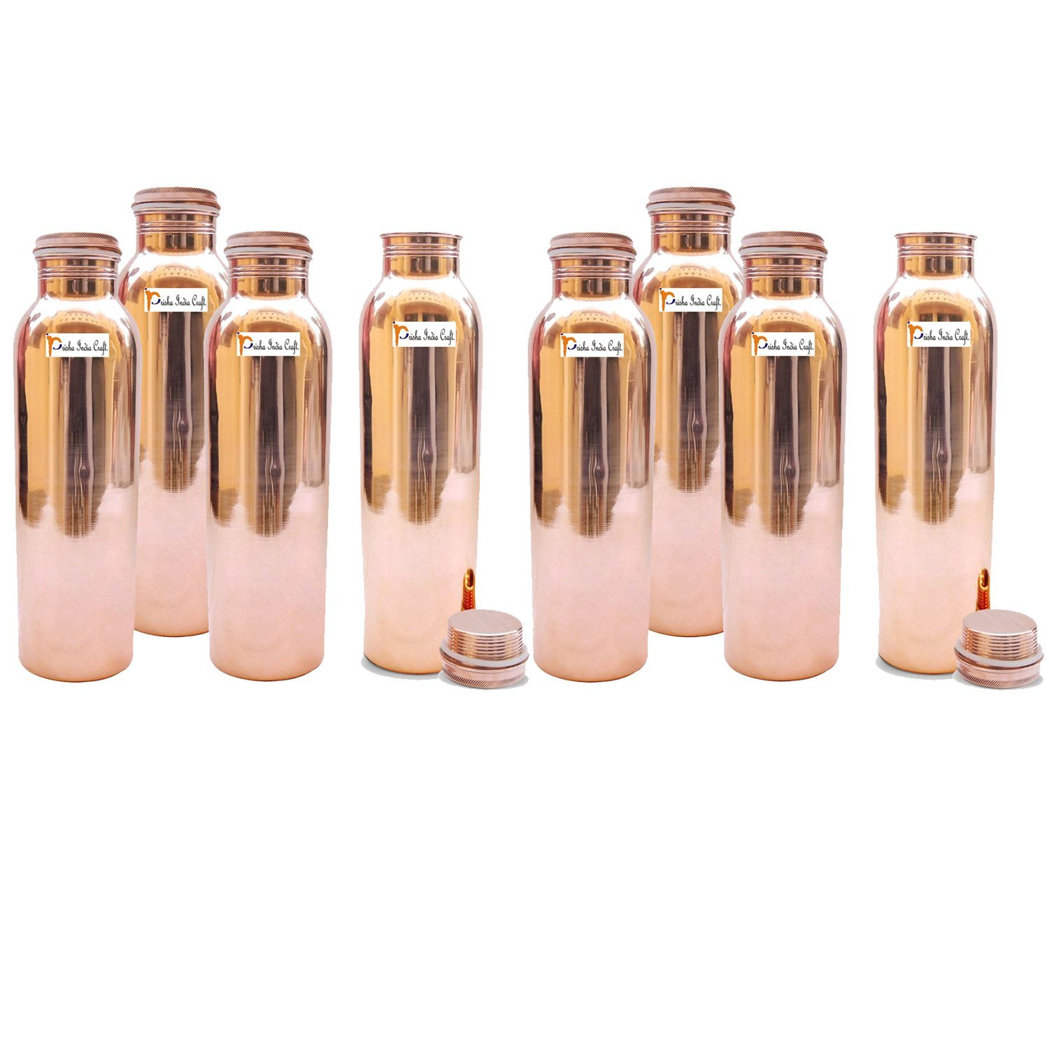 1150ml / 38.89oz - Set of 8 - Prisha India Craft Pure Copper Water Bottle for Health Benefits - Water Bottles Joint Free, Handmade - Christmas Gift