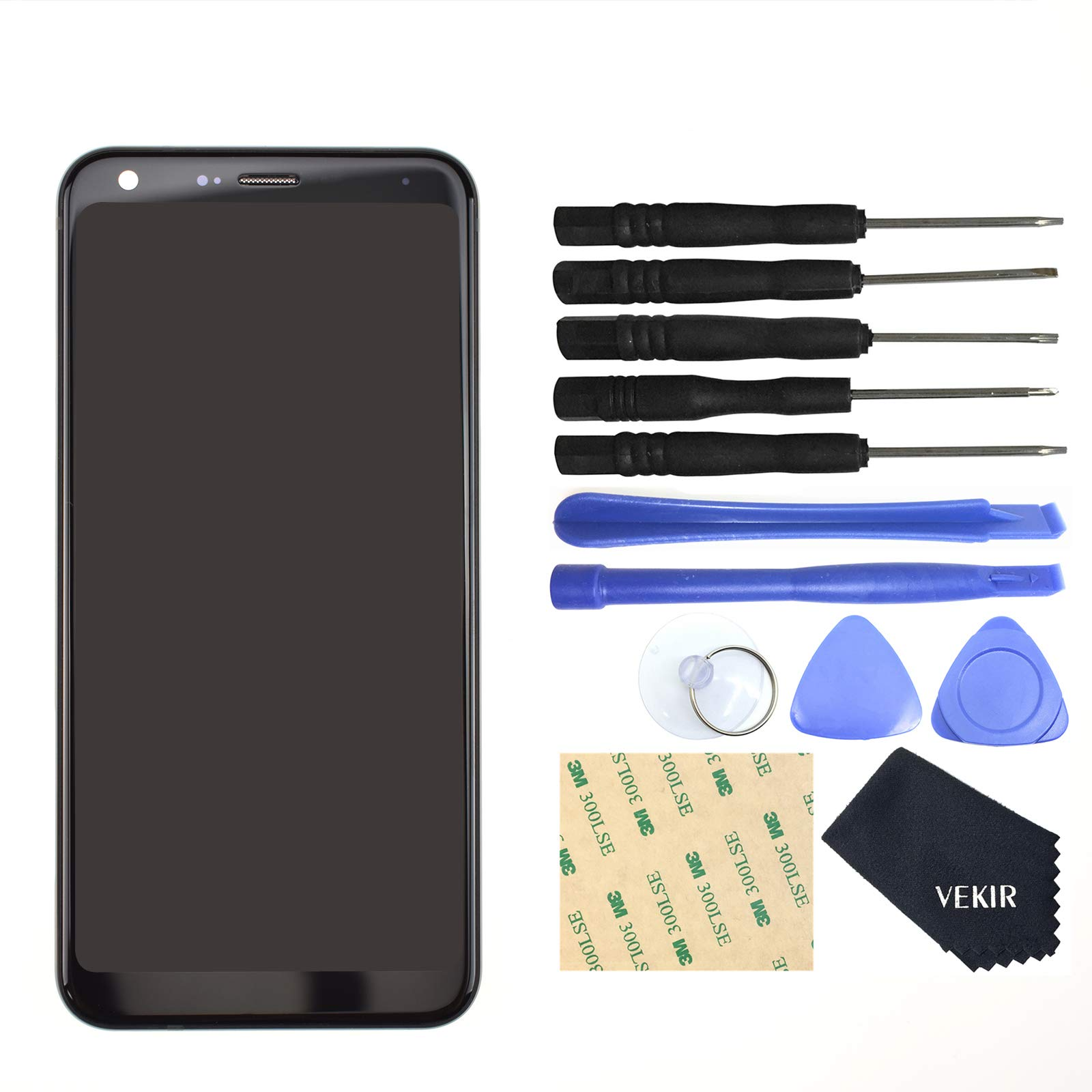 VEKIR Display Touch Digitizer Screen Replacement for LG Q7(Aurora Black with Frame by VEKIR