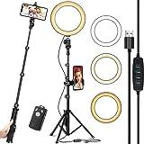 "Eocean 8"" Selfie Aro de Luz Led con 51"" Soporte para Trípode actualizado y soporte para Teléfono celular para transmisión en"