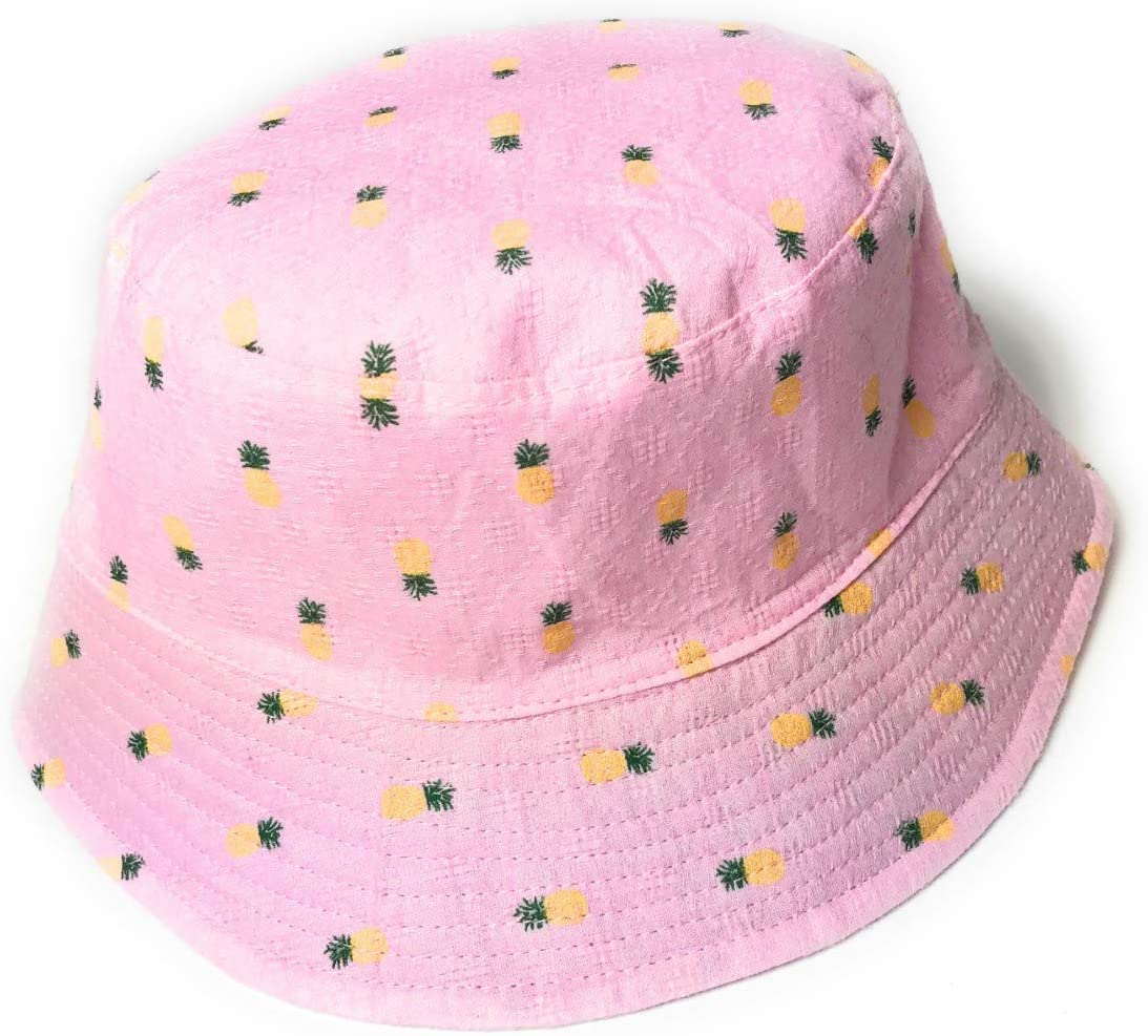 KGM Accessories Nice Linen blended pineapple print Bucket hat holiday festival sun hats Beige