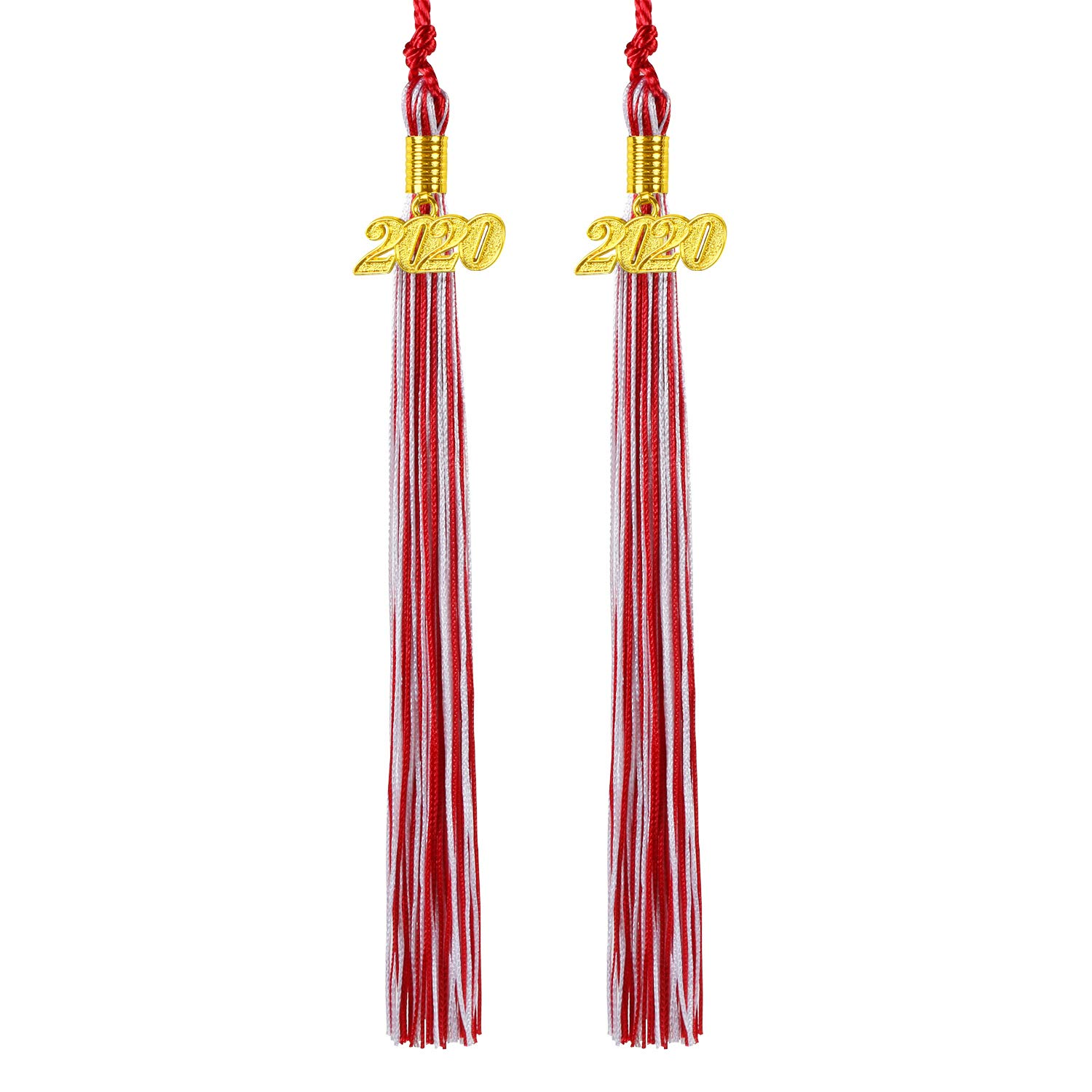 Kissbuty Uniforms Graduation Tassel with 2020 Gold Year Charm for Graduation Photography Party Double Color 2 Pcs 2020 Graduation Cap Tassel Red and White