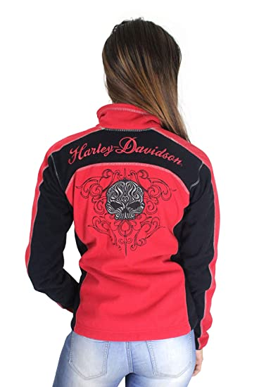 43e03b880 Harley-Davidson Womens Scroll Willie G Skull Windproof Fleece Red Jacket  98574-16VW