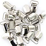 20 x Braces Clips Strap Hooks 20 mm Silver Coloured