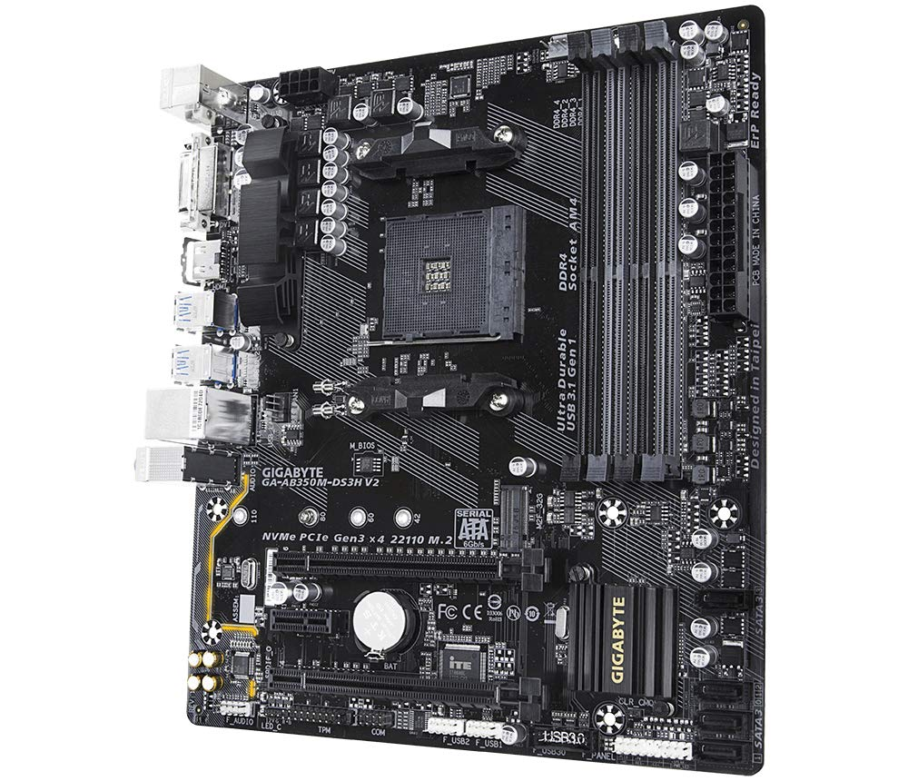 rev. 1.1 Buchse AM4 AMD B350 Micro ATX Motherboards DDR4-SDRAM, DIMM, 2133,2400,2667,2933,3200 MHz, Dual, 64 GB, AMD Gigabyte GA-AB350M-DS3H V2