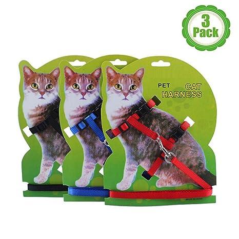 Bemix Pets Bemix - Arnés para Gato con Correa, Juego de 3, arnés y