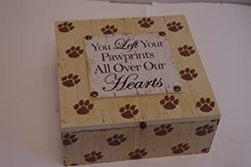 Memory Box Dog Keepsake Ashes Box You Left Pawprints All Over Our Hearts