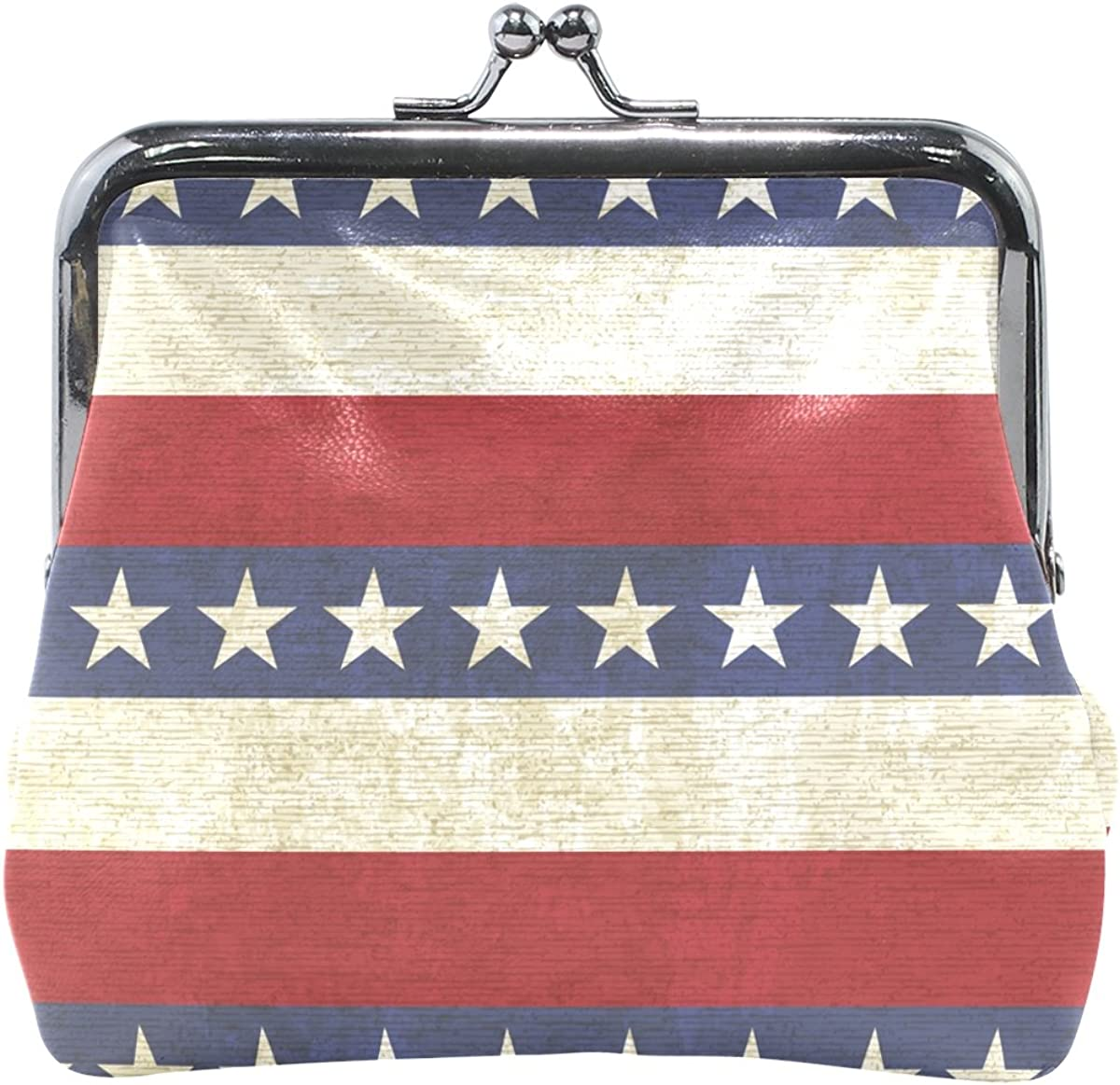 Sunlome Vintage Stripes And Stars Coin Purse Change Cash Bag Small Purse Wallets for Women Girl