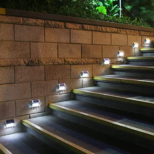 Upgraded 3 LED GVSHINE 8 Pack 3 LED Solar Bright Step Light Stairs Pathway Deck Garden Lamps Stainless Steel Wall Yard Outdoor Fence Illuminates Patio Lamps Lighting Waterproof Solar Power Light