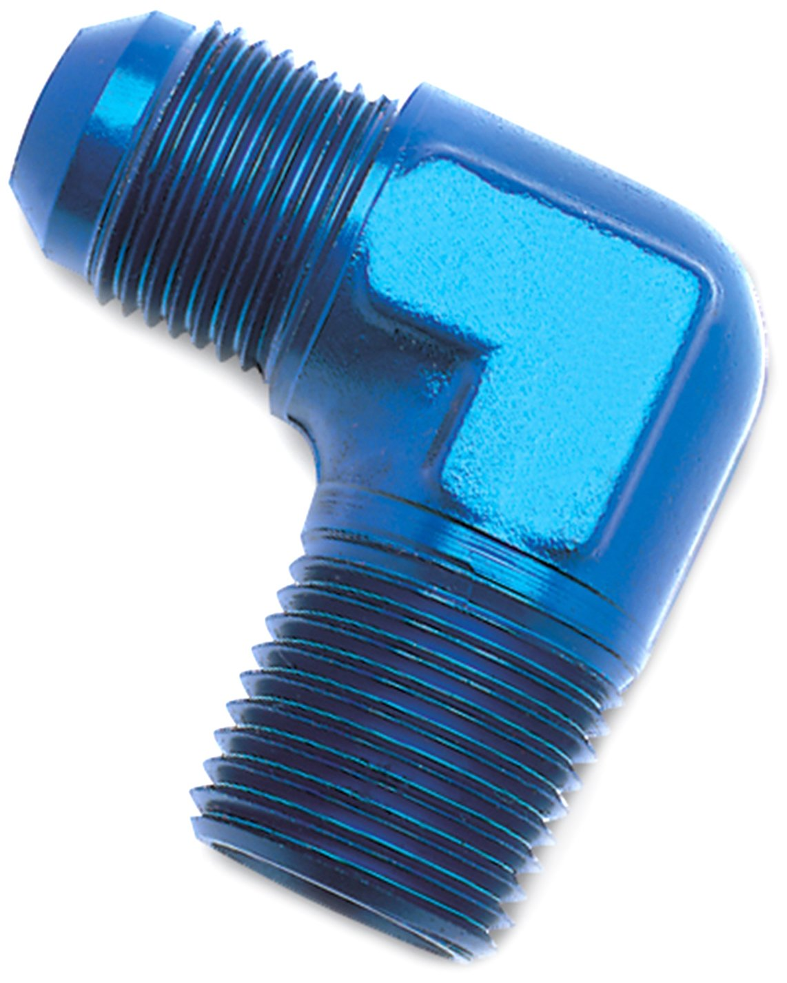 6AN 90-Degree Flare to 1//4 Pipe Adapter Fitting Russell 660820 Blue Anodized Aluminum