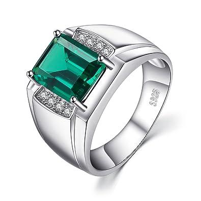 fed9076c5100 JewelryPalace 2.83ct Luxe Bague Homme en Argent Sterling 925 en Emeraude de  Synthèse Verte pour