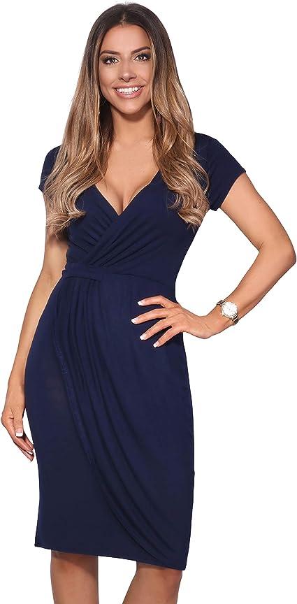TALLA 42. KRISP Vestido Moda Mujer Fruncido Azul Marino 6678 42