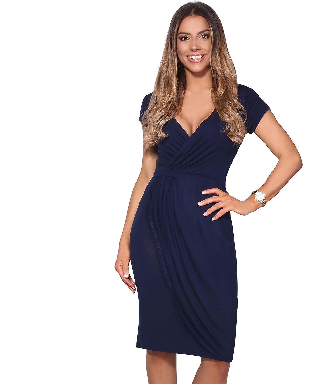 TALLA 38. KRISP Vestido Moda Mujer Fruncido Azul Marino (6678) 38