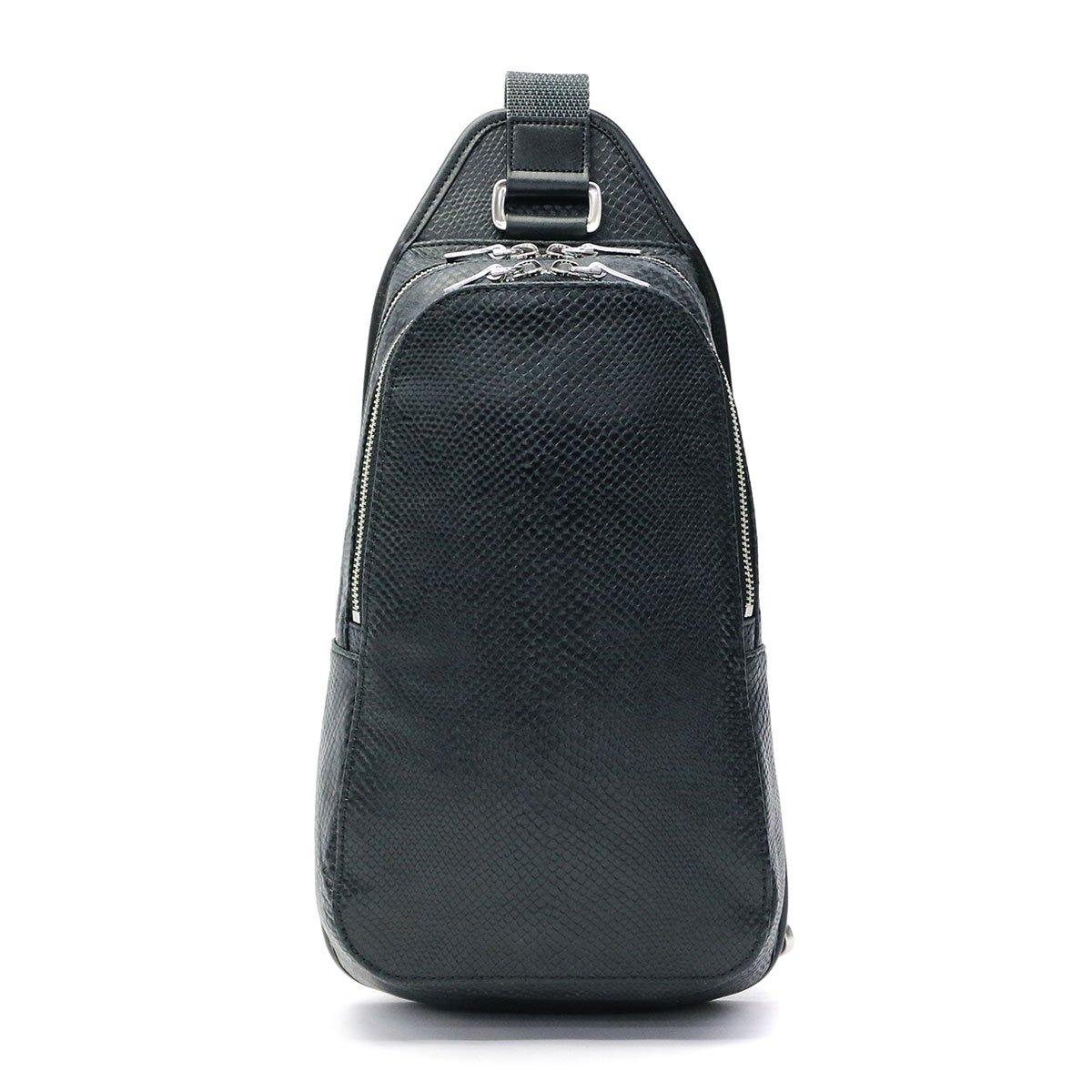 [アニアリ]ボディーバッグ スケイルレザー B079FMKM12 ブラック ブラック