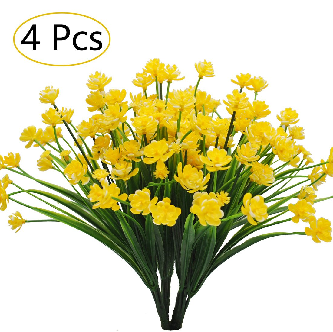 Artificial Flowers Faux Plants Greenery Shrubs Plant Plastic Bushes for House Office Wedding Garden Patio Indoor Outdoor Decor 4pcs Yellow
