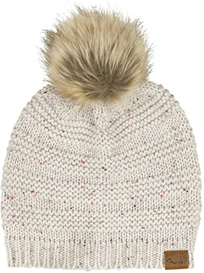 Amazon.com  Fender Leather Patch Pom Beanie 26808693c67