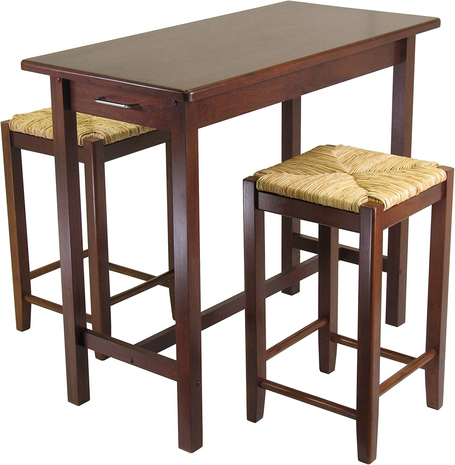 Winsome Kitchen Island Table With 2 Rush Seat Stools 2 Cartons 3 Piece Kitchen Islands Carts