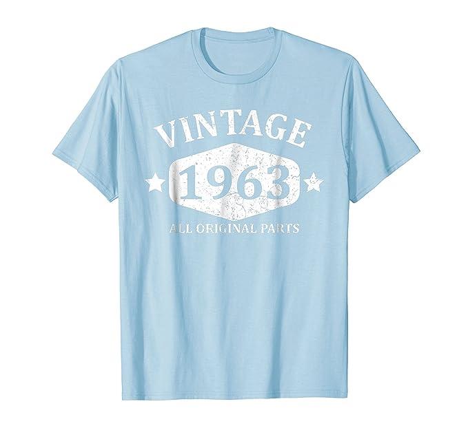 Mens Funny Vintage 1963 55th Birthday Gift T Shirt Best Emoji Tee 2XL Baby Blue
