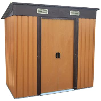 Bentley Garden - Cobertizo metálico para exterior con marco de zinc (2, 43 x 1, 21 m), color marrón: Amazon.es: Jardín
