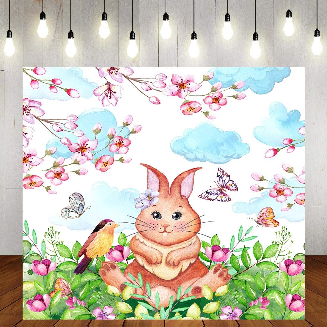 Spring Rabbit Theme Party Backdrop 6x6ft Pink Peach Bird Girl Boy Birthday Chinese Zodiac Rabbit Baby Shower Photography Background YouTube Photo Studio Prop Wallpaper LYST924