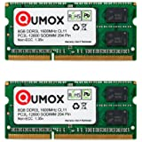 QUMOX 16 GB (2x 8 GB) 204 pin DDR3L-1600 SO-DIMM (1600Mhz, PC3L-12800S, CL11, 1.35V, Low Voltage)