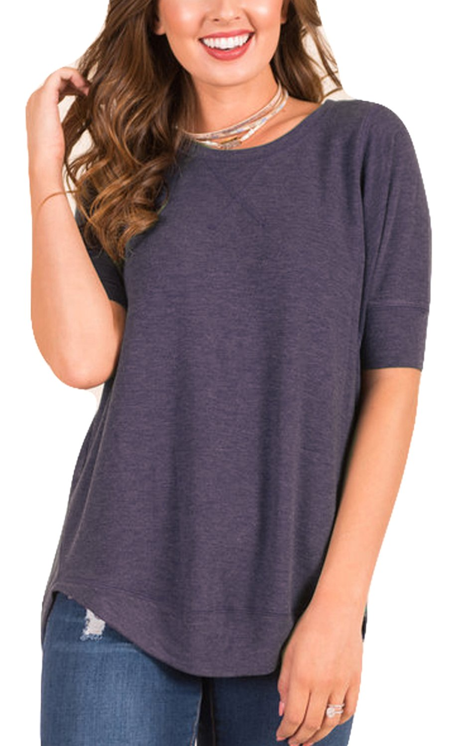 POGTMM Women's Summer Loose Casual V-Notch Tee Tops Short Sleeve T-Shirts (S, Purple)