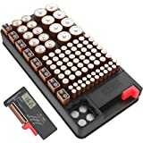 Coomatec Battery Organizer Support AA, AAA, D, C, 9V, and Button Batteries Storage box Can Contain over 7 Types of Batteries with Tester …