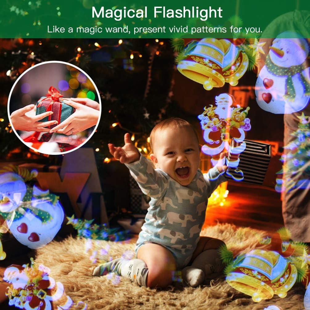 Schwarz Dynamisch und Statisch LEDLGE LED Taschenlampe mit Projektor LED Effektlicht f/ür Kinder mit 4 Motiven