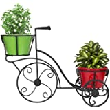 Nuha Cycle Style Stand with 2 Metal Pot (Black)