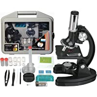 AmScope 120X-1200X 52-pcs Kids Beginner Microscope STEM Kit with Metal Body Microscope, Plastic Slides, LED Light and…