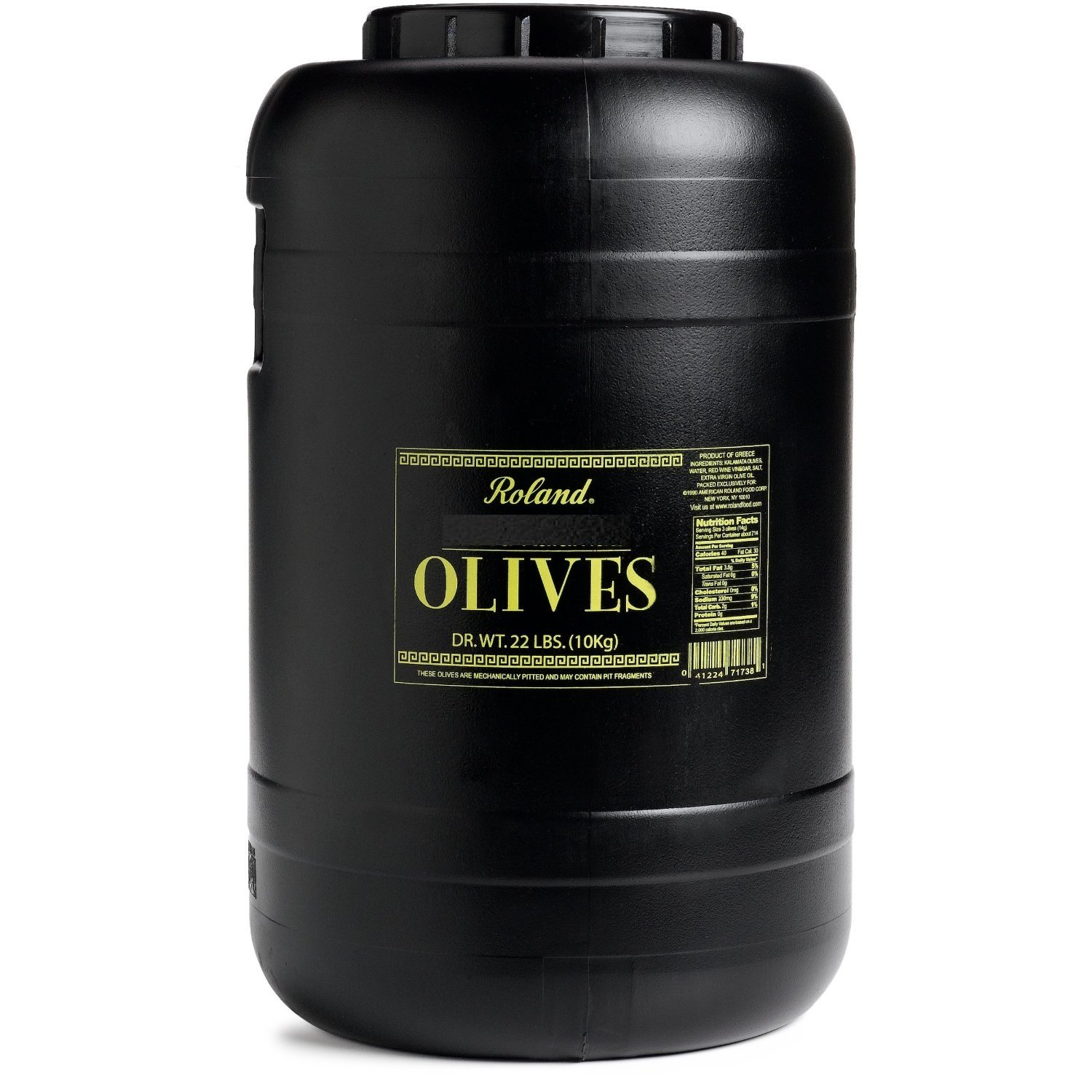 Roland Kalamata Olives, Whole, Pitted, 22-Pound Dry Weight Tub