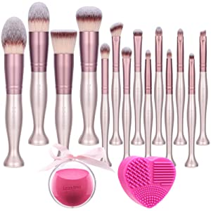 BS-MALL Makeup Brushes Standing Premium Synthetic Foundation Powder Concealers Eye Shadows Makeup 14 Pcs Brush Set,with Makeup sponge and Cleaner