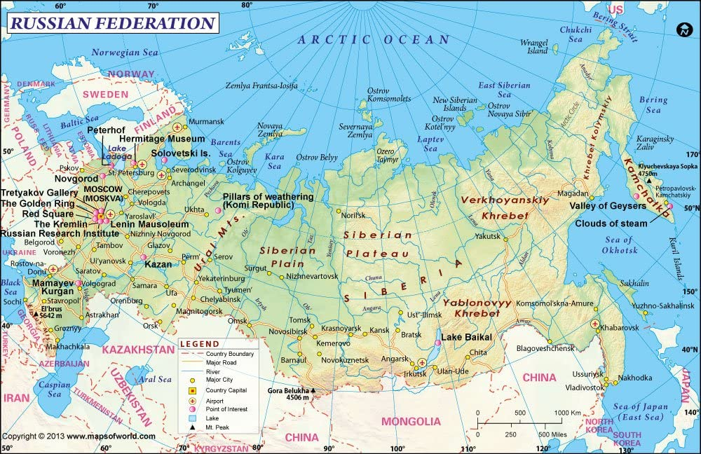 Amazon Com Russia Map 36 W X 23 37 H Office Products
