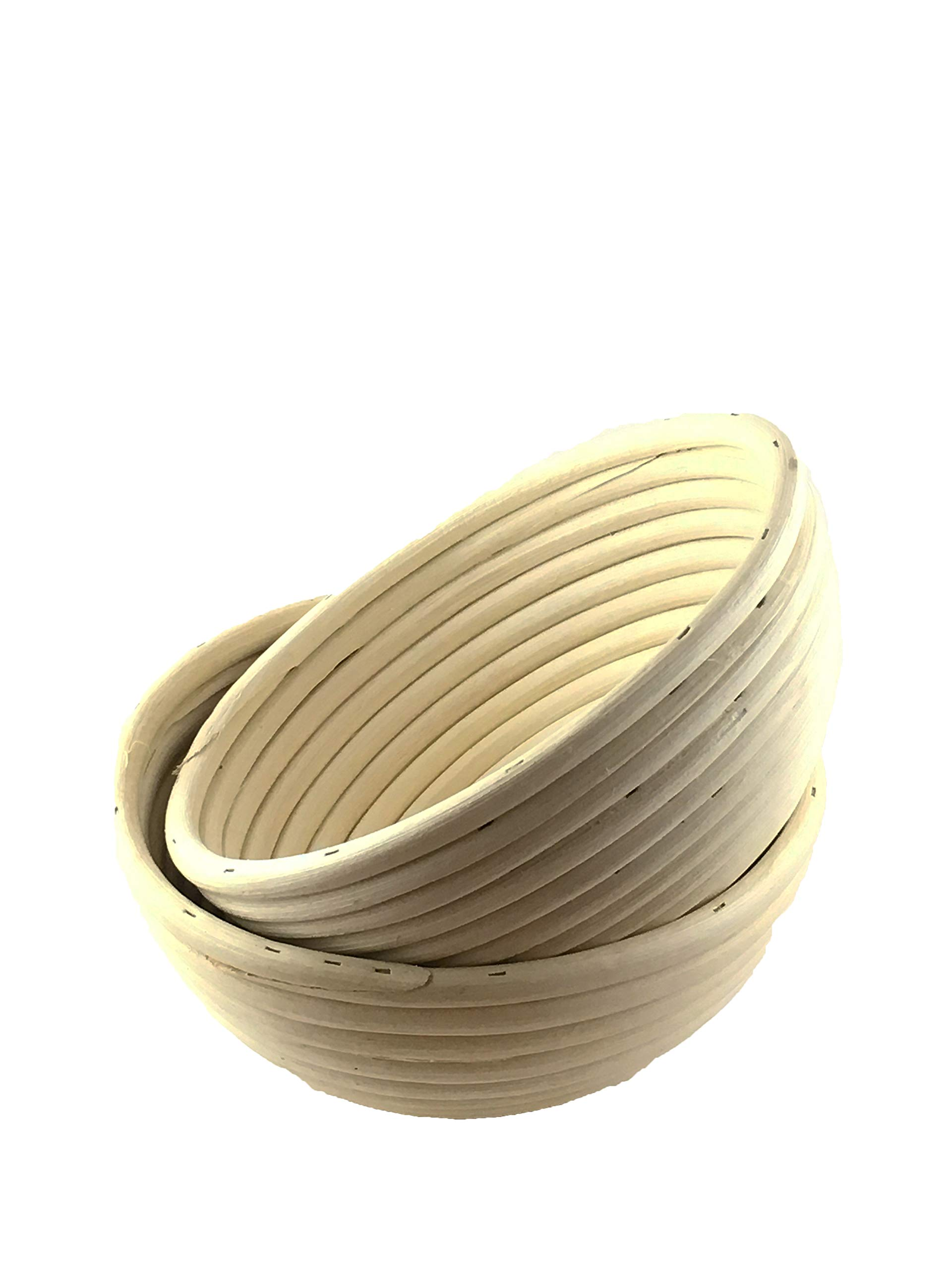 7 Inch Round Proofing Basket (Pack of 2) by Artisan Baking Co. Manufactured for professional made of rattan. Great for homemade sour dough bread (2)