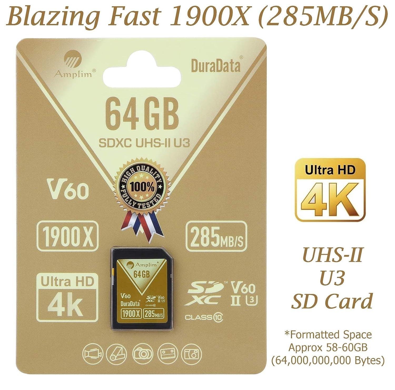 Amplim 64gb Uhs Ii Sdxc Sd Card Blazing Fast Read 285mb 512gb V Gen Turbo Class 10 Uhs1 S 1900x U3 Ultra High Speed V60 Uhsii Extreme Pro Xc Memory