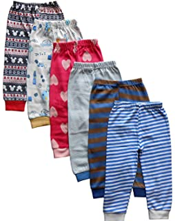 2efff7c5c178 Kuchipoo Fleece Baby Pajamas Bottoms with Rib - Pack of 6  Amazon.in ...